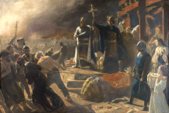 Archbishop Absalon had the pagan idol Svantevit destroyed (photo: Laurits Tuxen)