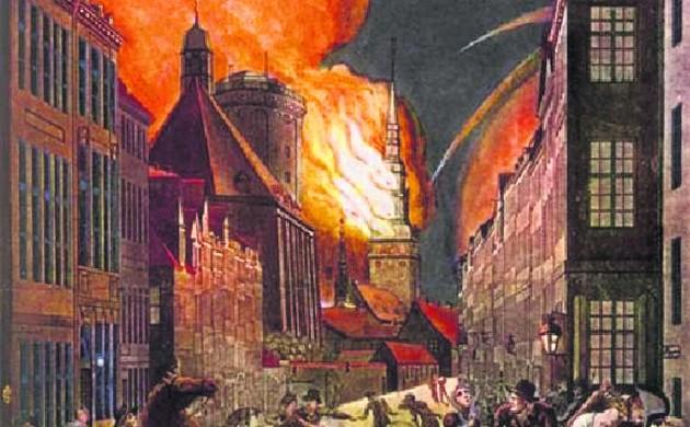 Fires raged for many days as thousands perished (photo: Gyldendals Billedarkiv)