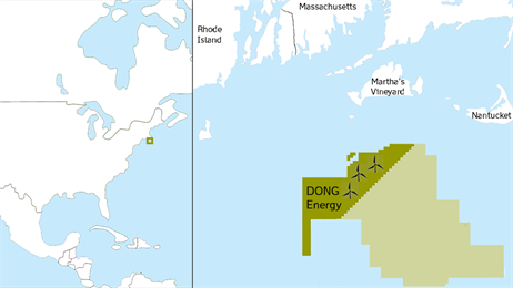 The Massachusetts lease has a total size of 760 square kilometres and is located about 90 kilometres from shore. (photo: Dong)