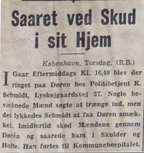 WOUNDED BY GUNSHOT AT HOME: Vice President of Engelbert-Petersens Bagerier, C. Engelbert-Petersen, took a taxi to his home in St Kongensgade via Østerbrogade on Tuesday evening (1 May 1945, ed) as a car further ahead was shot at. A stray bullet hit Engelbert-Petersen who was admitted to Kommunehospitalet (now City Campus, ed) shortly after.