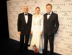 Léa Seydoux (centre) was joined by Danish actor Jesper Christensen (right) and producer Michael G. Wilson (left)