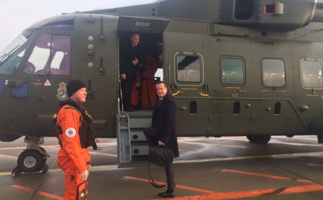 Peter Christensen (on helicopter) welcoming Sweden's internal affairs minister, Anders Ygeman, before the Haga Meeting (photo: Anders Ygeman)