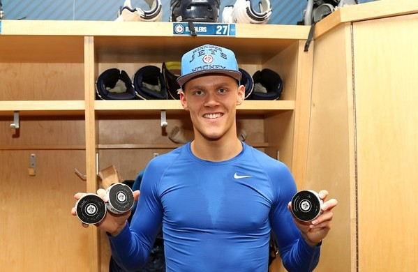 19-year-old Nikolaj Ehlers pulled off the hat trick (photo: Twitter)