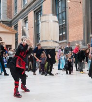 Fairies, batmen and ninjas gathered to participate in the old Danish tradition of beating the barrel