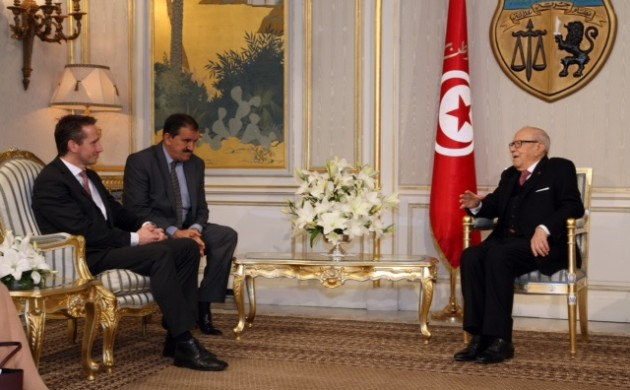 Kristian Jensen met with the Tunisian president, Habib Essebi (photo: Foreign Ministry)
