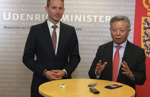 Kristian Jensen and Jin Liqun, the president of AIIB (photo: Foreign Ministry)