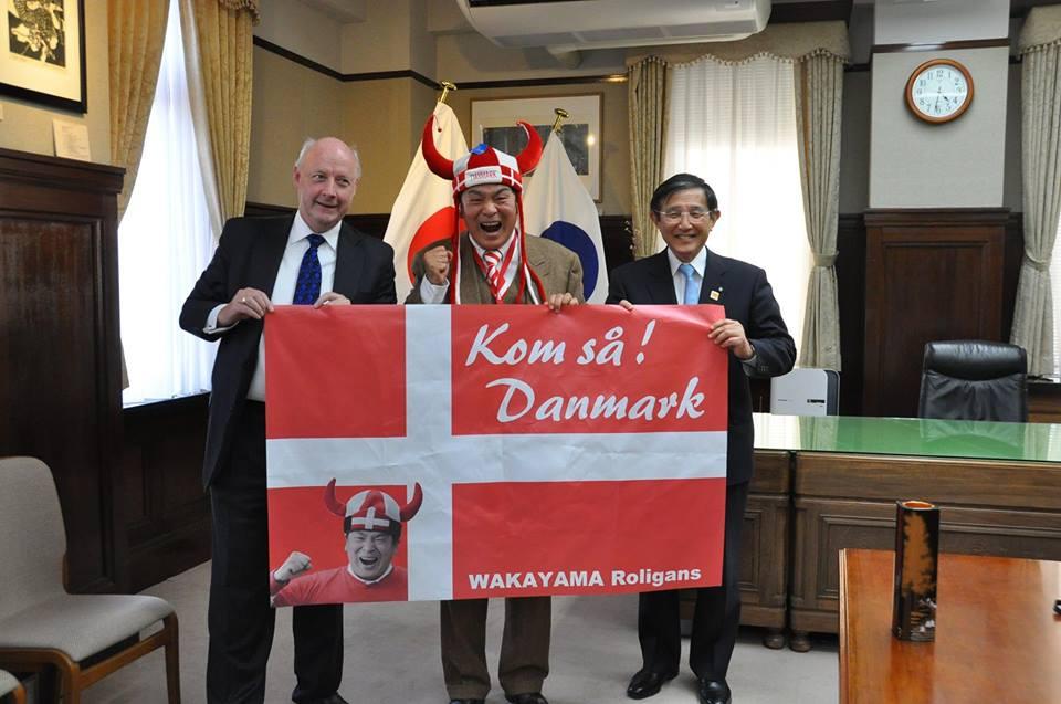Shinke with ambassador Freddy Svane and governor Yoshinobu Nisaka