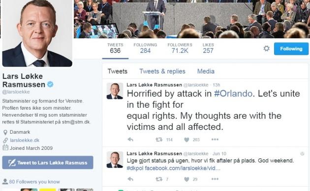 Lars Løkke Rasmussen condemns Orlando terror attack
