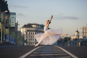 Ballerina in the center of Moscow