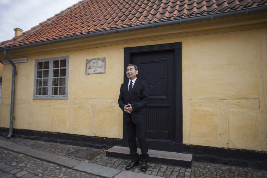 The Japanese bestselling writer next to the Hans Christian Andersen's house in Odense.