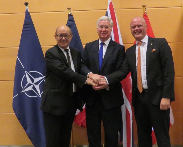 Christensen with Fallon and Le Drian in Brussels (photo: UK Delegation, NATO)