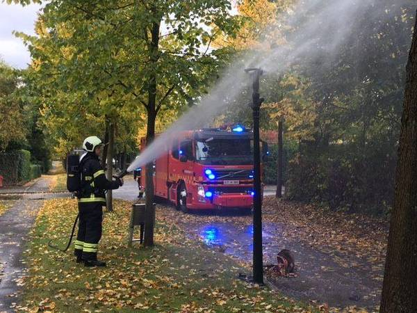 One of the few gas lamps left in Denmark burned over the weekend (photo: Beredskab Øst)