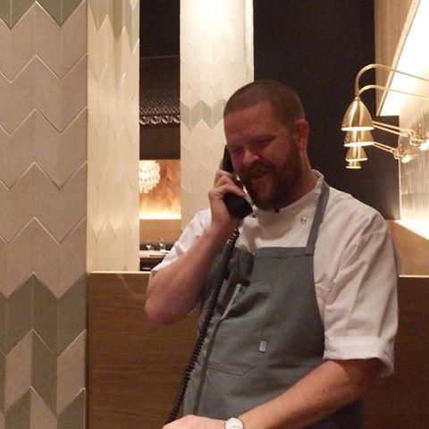 Chef Gunnar Gislason gets the magic call (photo: Claus Meyer)