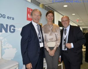 Erik Rasmussen, the founder of Sustainia, and CEO of Monday Morning (left) with UN Global Compact executive director Lise Kingo and Realdania CEO Jesper Nygård at the UN Private Sector Forum in New York (photo: Irene Hell)