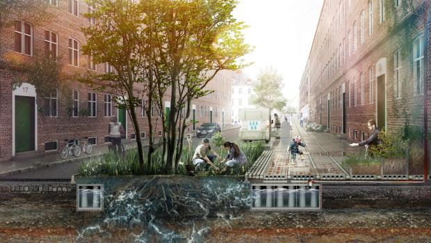 The tiles will be tested on Heimdalsgade in Nørrebro (photo: Realdania/Tredje Natur)