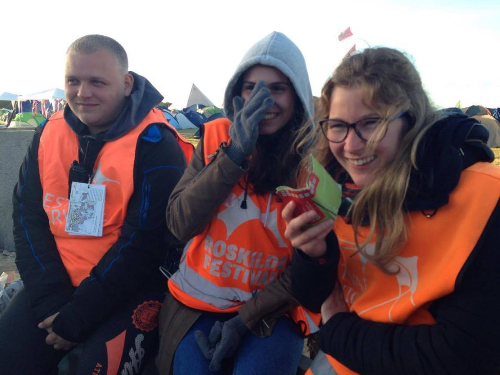 "Volunteering 4 Life participants contributing to Roskilde Festival's ""Orange Feeling"""