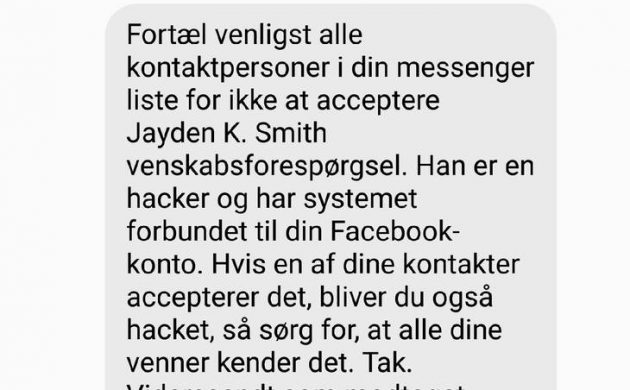 Facebook warning message about hacker a hoax
